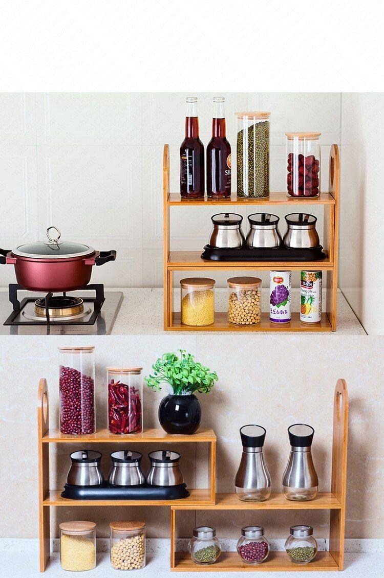 Countertop Bakers Rack Kitchen Bottle Spicy Organizer Jars Storage Standing Bookshelf Muti Tier Kitchen Organizer