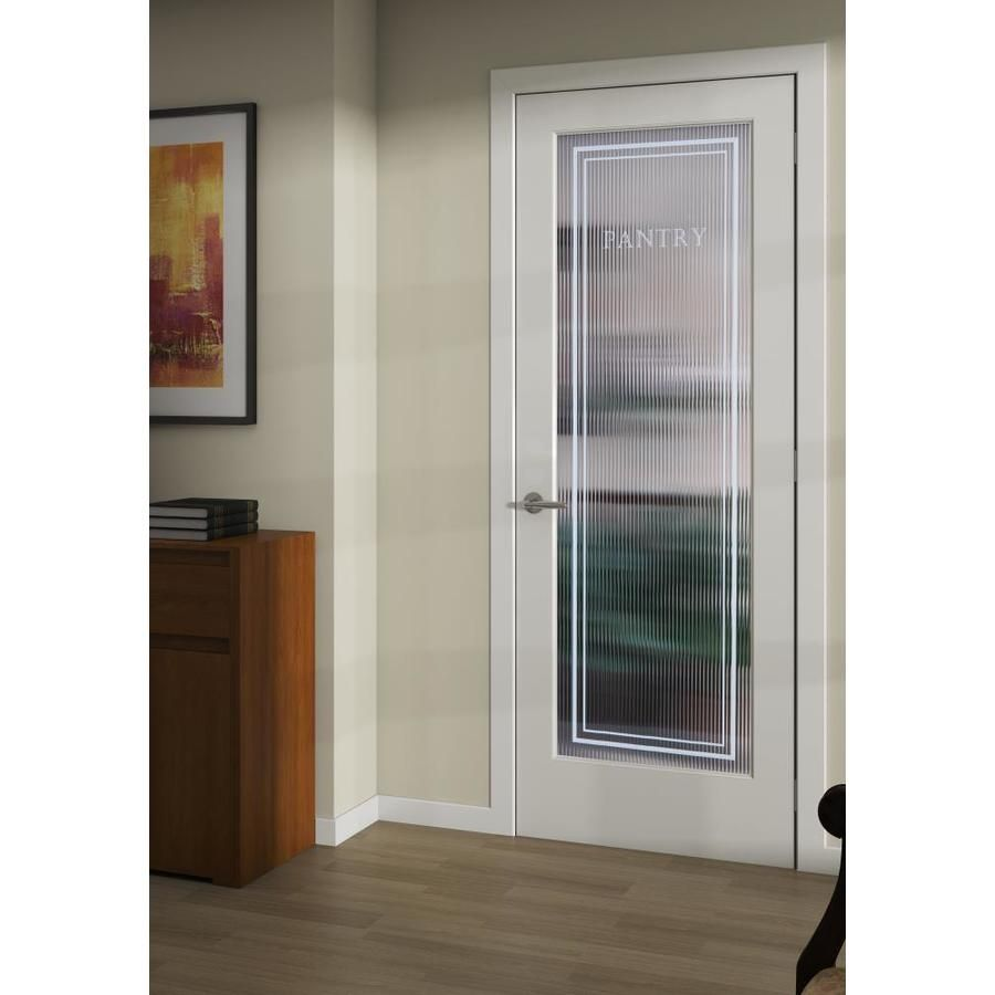 Reliabilt Reeded Pantry 24 In X 80 In White 1 Panel Solid Core Patterned Glass Wood Slab Door Lowes Com Slab Door Wood Slab Pattern Glass