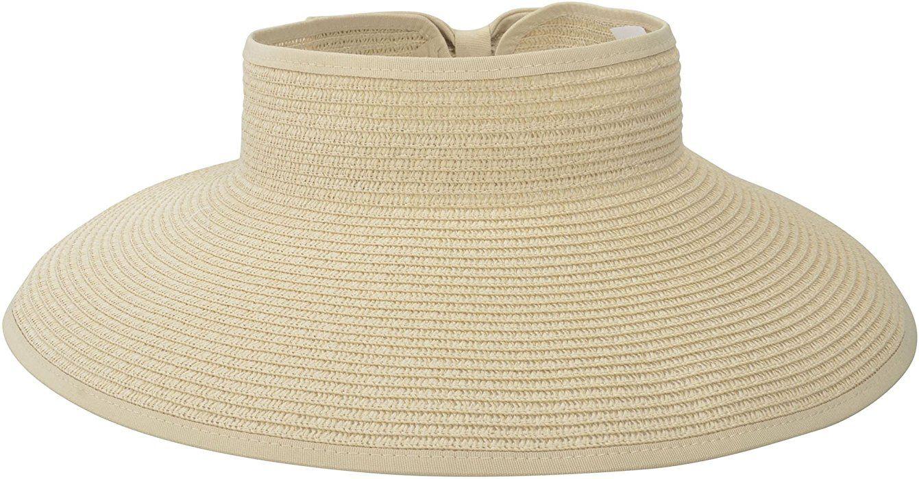 65532c0baa55d Amazon.com  Women Summer Roll Up Foldable Wide Brim Sun Visor Straw Hat  Natural  Sports   Outdoors