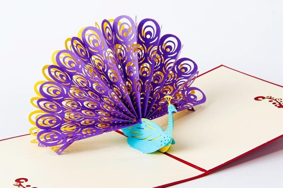 Peacock 3d Pop Up Greeting Card Pop Up Cards Origami Gifts Origami Love