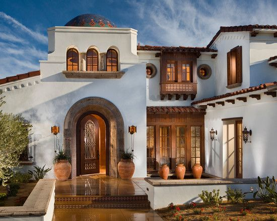 Luxurious Traditional Spanish House Designs Traditional Entry Design Wood Door Spanish Revival Spanish Colonial Homes Spanish House Design Spanish Style Homes