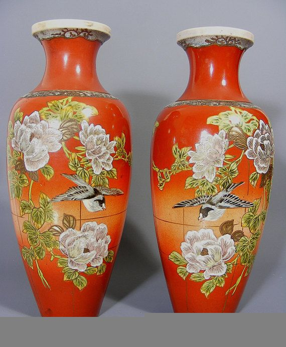 Japanese Satsuma Vases Pair Of Vases Antique Vase Japanese Vase