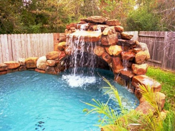 pictures of pools with waterfall slides Houston Pool with rock