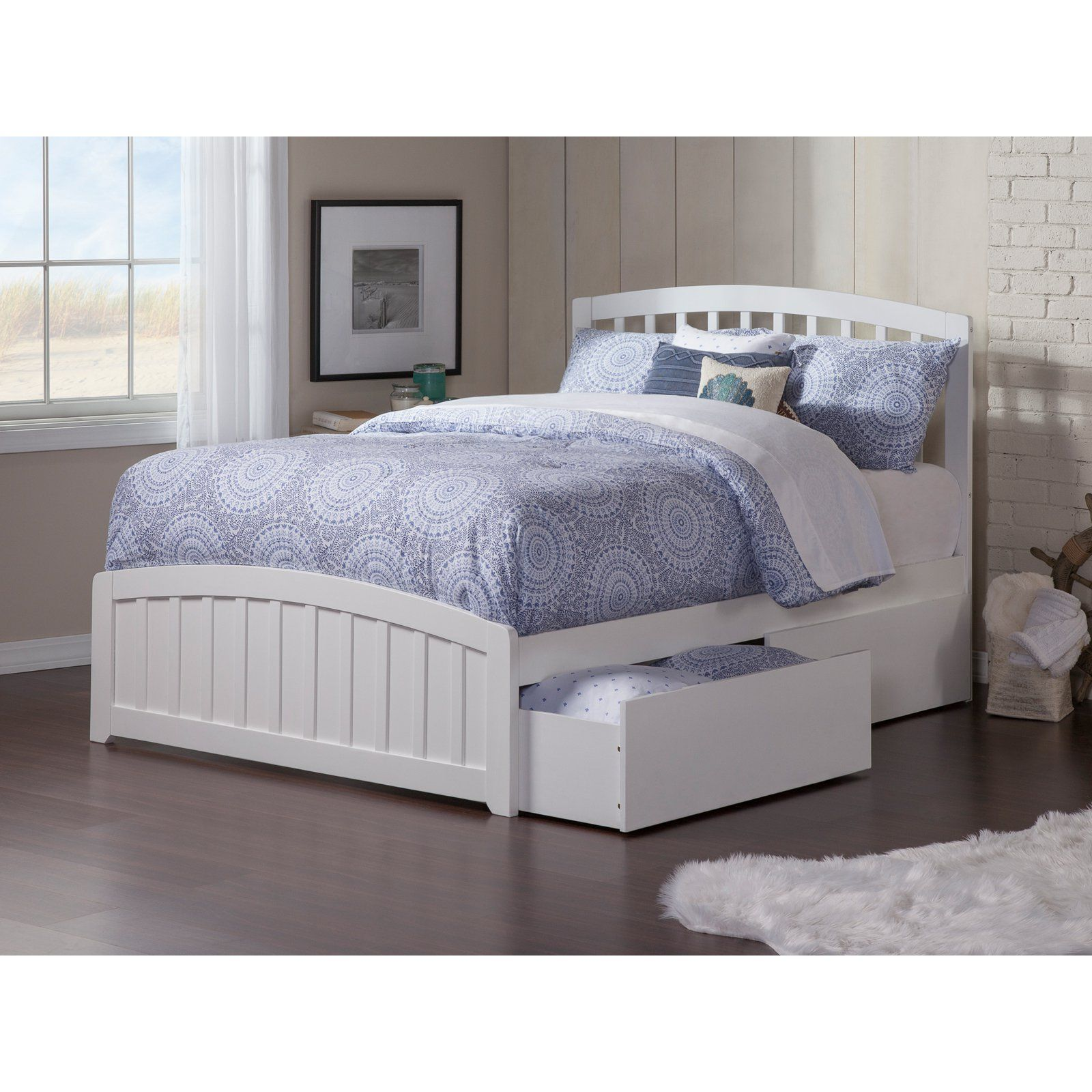 1ab68968f0460 Atlantic Furniture Richmond Platform Bed with Matching Foot Board White