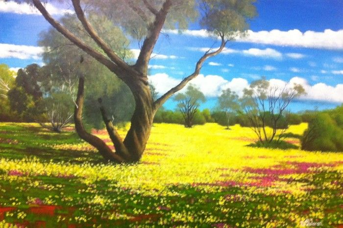 WESTERN DESERT WILDFLOWERS acrylic on board by David O'Halloran - $700 available to buy at bluethumb.com.au/davidohalloran #Australia #landscape #art #painting