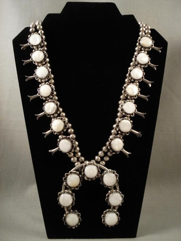 VERY OLD VINTAGE NAVAJO MOTHER OF PEARL SILVER SQUASH NECKLACE