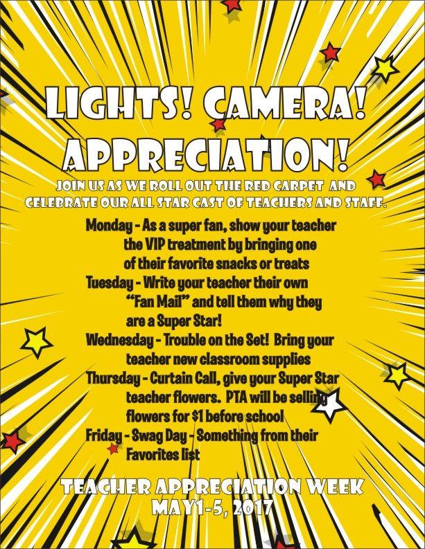 Hollywood Teacher Appreciation Week Schedule Of Activities Roommomrock Teacher Appreciation Themes Hollywood Teacher Appreciation Teacher Appreciation Week