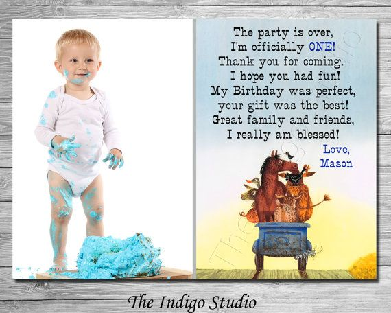 Little Blue Truck Thank You Card You Print All Ages 1 4 Verse