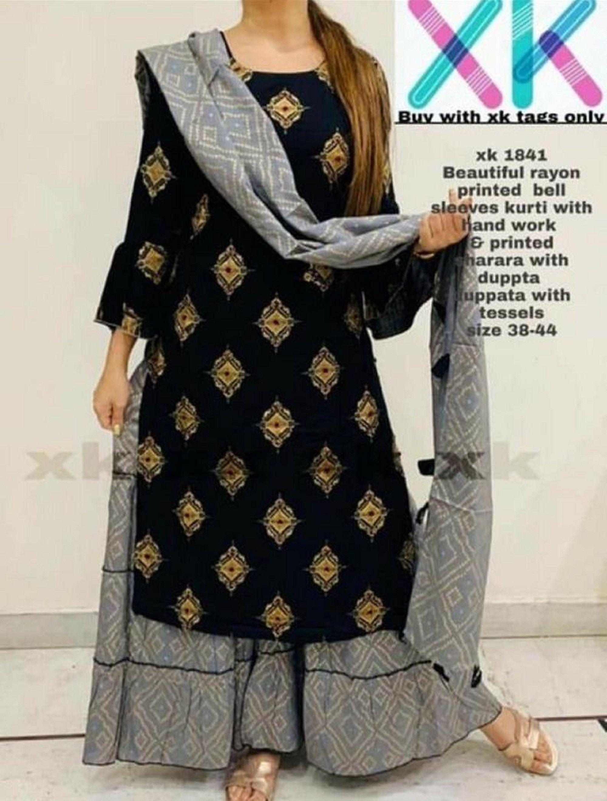 Stylish Trendy Rayon Attractive Printed Black Kurta Sahrara With Dupatta Set Indian New Designer Kurti. FREE Express Shipping In USA/UK.
