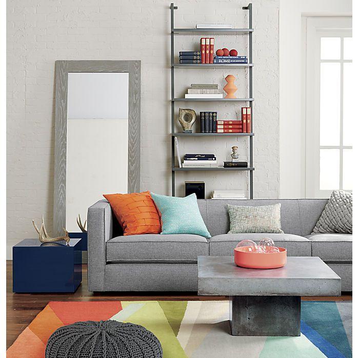 Cb2 Club Grey Sofa Banded Color Stripe Rug City Slicker Navy Side