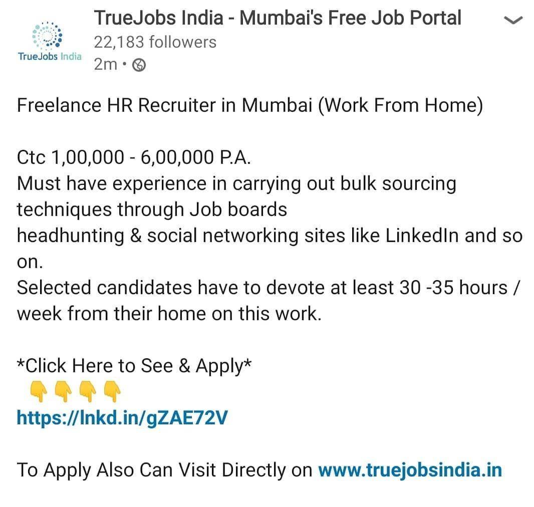 Hr Recruiter In Mumbai Work From Home Hr Recruitment Humanresource Jobs Mumbaikar Jobsinmumbai Social Networking Sites Job Board Job Portal