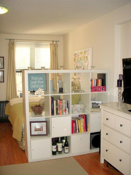 Storage Unit That Also Serves As A Wall Divider Small Room Design Apartment Decor Small Spaces