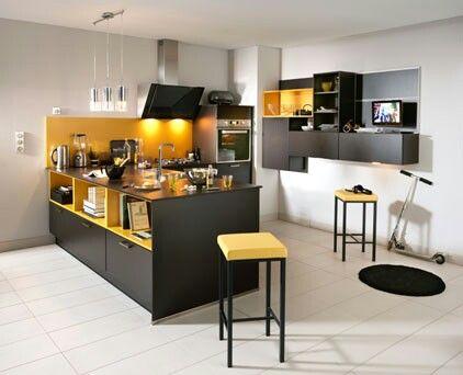Cuisine Jaune Et Noir Melisse Terra Chez Atlas Inspiration - Cuisine noir et jaune