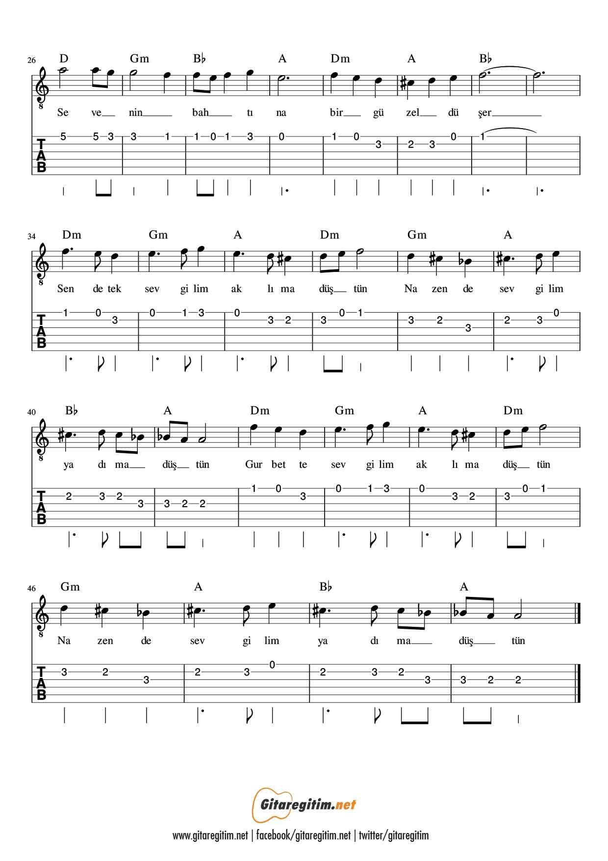 Nazende Sevgilim Gitar Nota Tab Gitaregitim Net 2020 Gitar Notalara Dokulmus Muzik Muzik Notalari