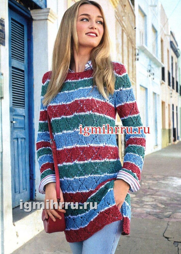 d6151e26aca Туника с разноцветными ажурными полосами. Вязание спицами