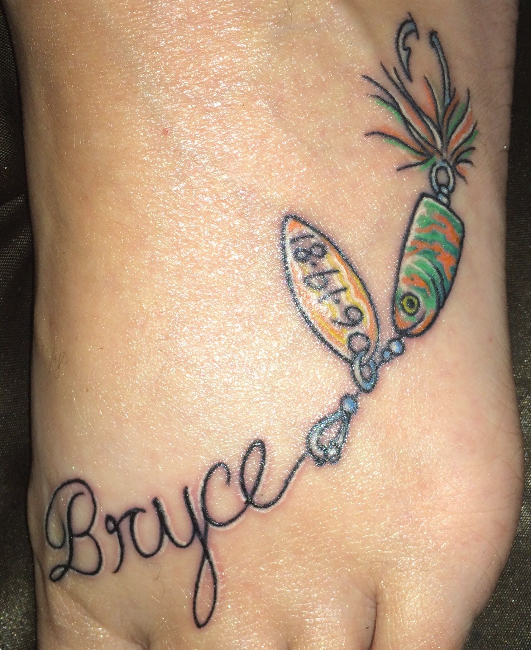4e9480618f7b1 He loved his fishing! I'm in love with my tattoo! It's perfect. He would've  loved it and it turned out beautiful! #tattoo #lure #Fishing #fishingtattoo  ...