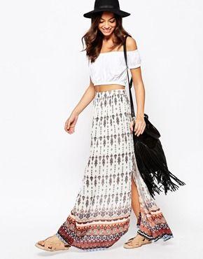 13ece5e00d New Look Border Maxi Skirt | Back to School | Maxi skirt boho, Denim ...