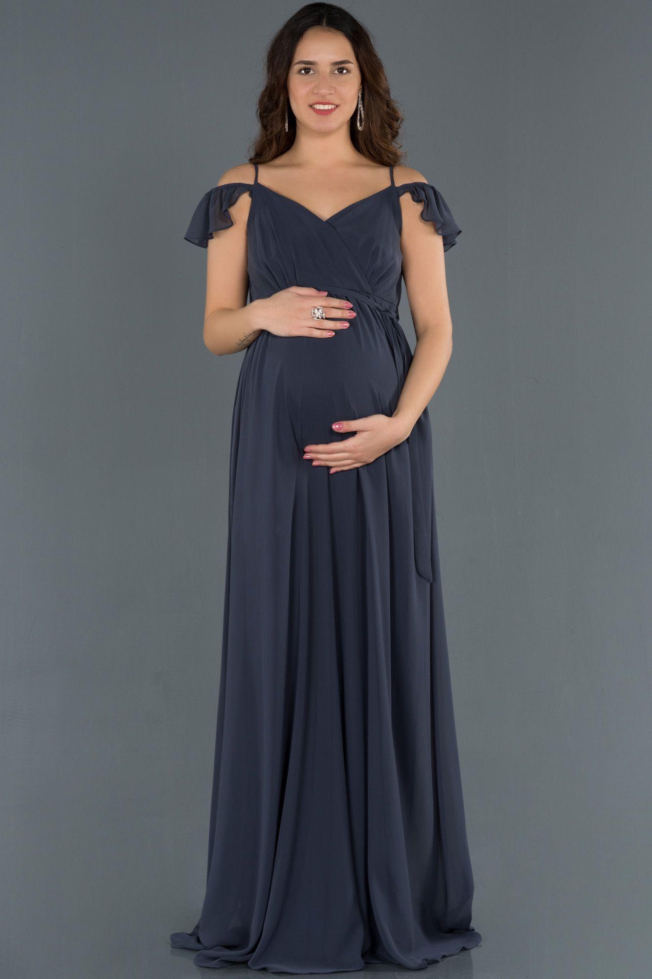 Indigo Kollari Volanli Hamile Abiye Abu756 2020 Elbise Modelleri Elbise The Dress