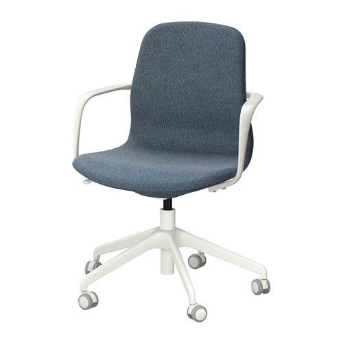 IKEA - LÅNGFJÄLL, Arbeidsstol, Gunnared blå, hvit, , En ergonomisk kontorstol med lett kurvede linjer, nøye utført detaljarbeid i sømmene og lettanvendelig mekanikk som er skjult under setet for designens skyld.Sikkerhetshjulene har en belastningsfølsom bremsemekanisme som holder stolen sikkert på plass når du reiser deg, og deaktiveres automatisk når du setter deg.Du kan lene deg tilbake med perfekt balanse, siden vippemekanismen er enkel å justere for å passe din vekt og dine…