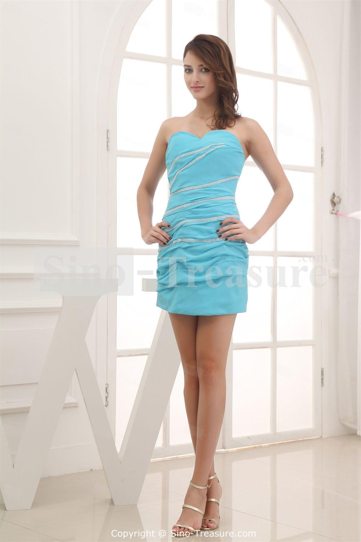 Blue Short Chiffon/Silk-like Satin Sweetheart Bridesmaid Dress ...