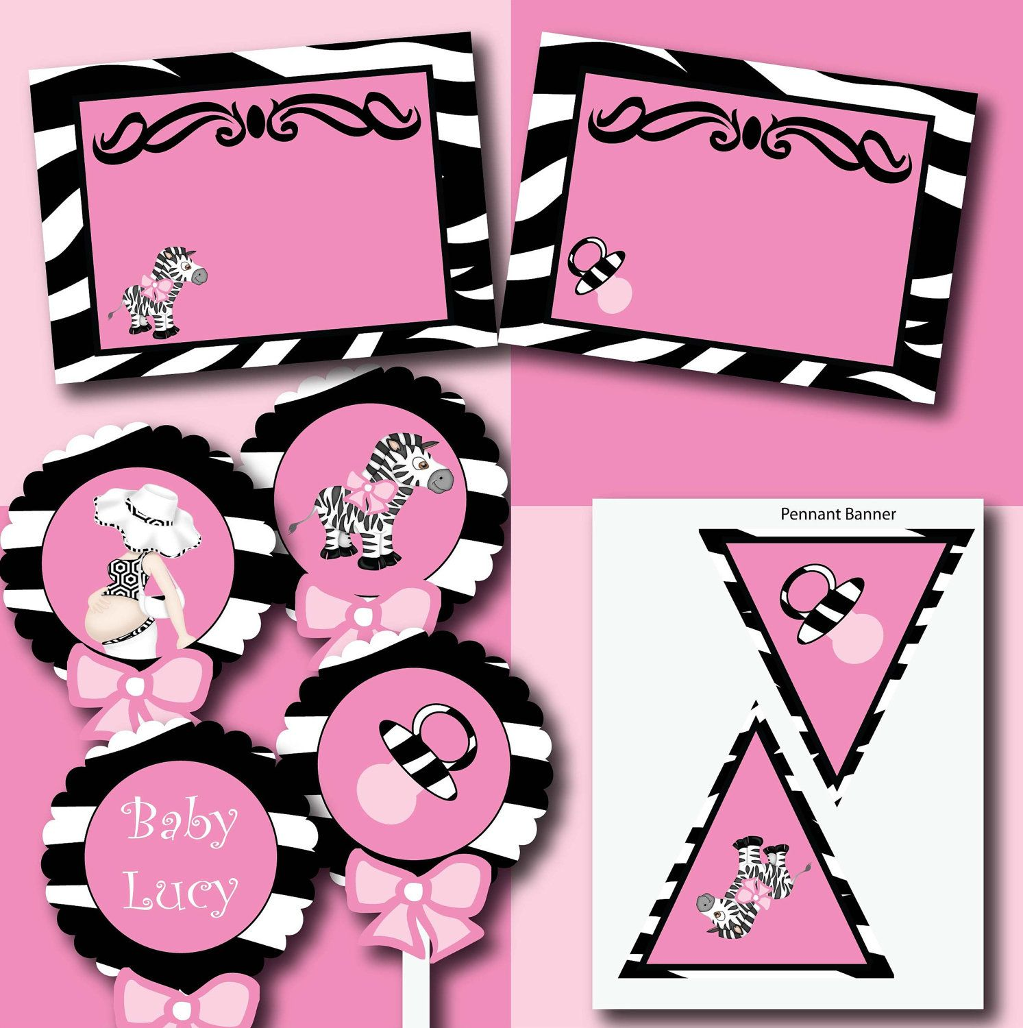 Girl Baby Shower Zebra and Pink printable girl by smrpartydesigns, $15.00