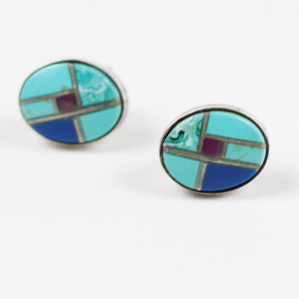 ZUNI Turquoise Lapis & Sugalite Inlay Earrings