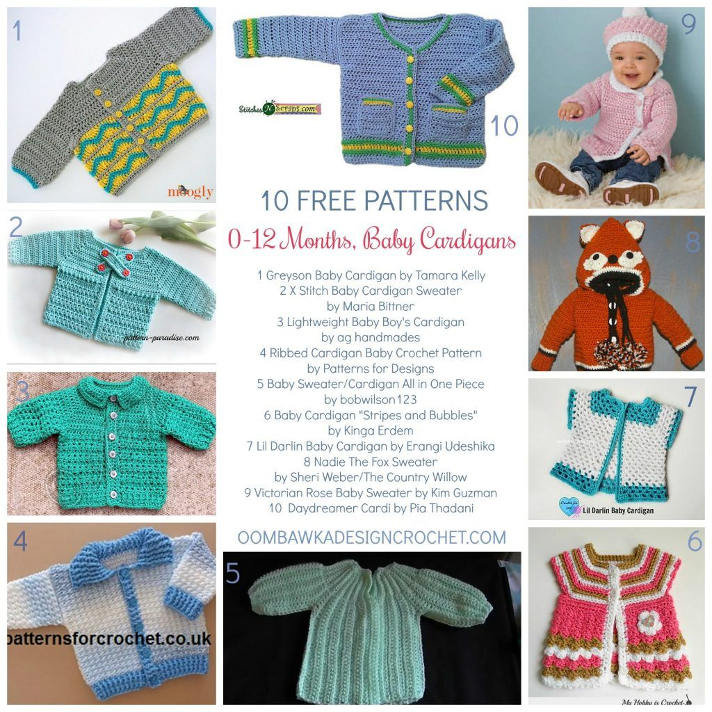 0 to 12 Months Baby Cardigans; 10 Free Patterns