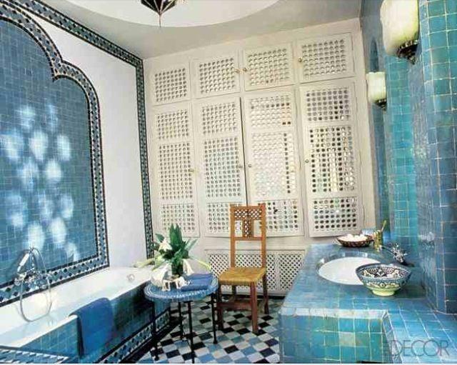 Beautiful Blue Tiles In Arab Bathroom 인테리어 아이디어