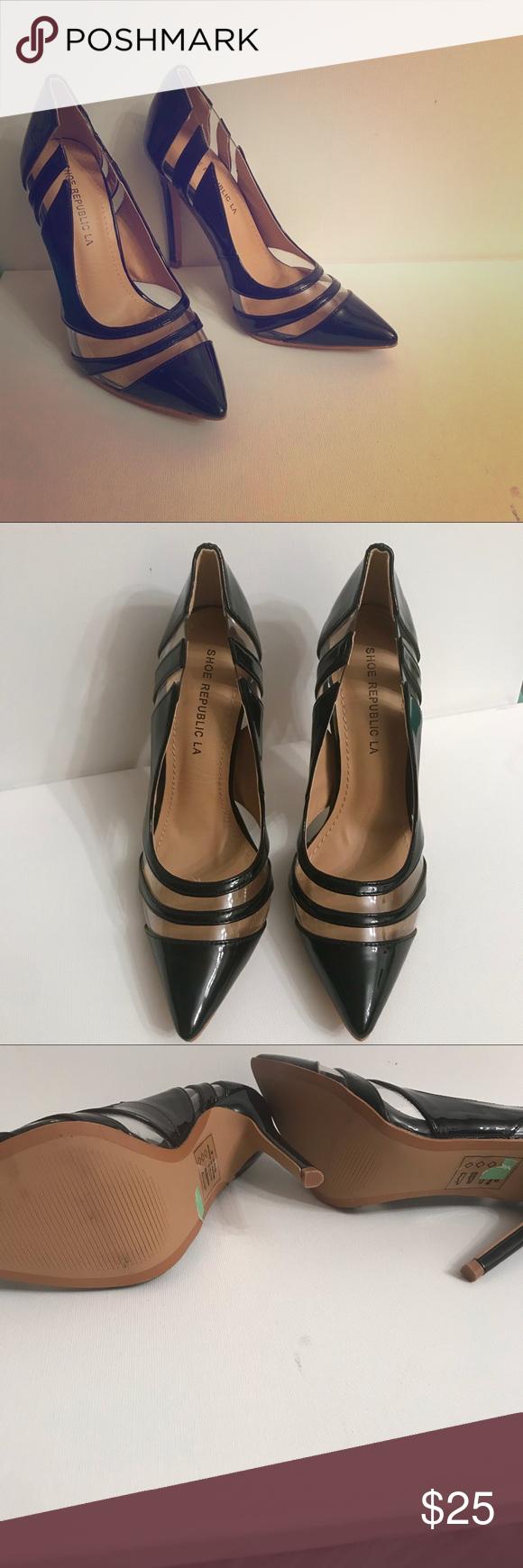 2bba8ac5b6b Shoe Republica | Black & Clear Heels Size 6 heels Rarely Worn No scuffs  Shoe Republic LA Shoes Heels