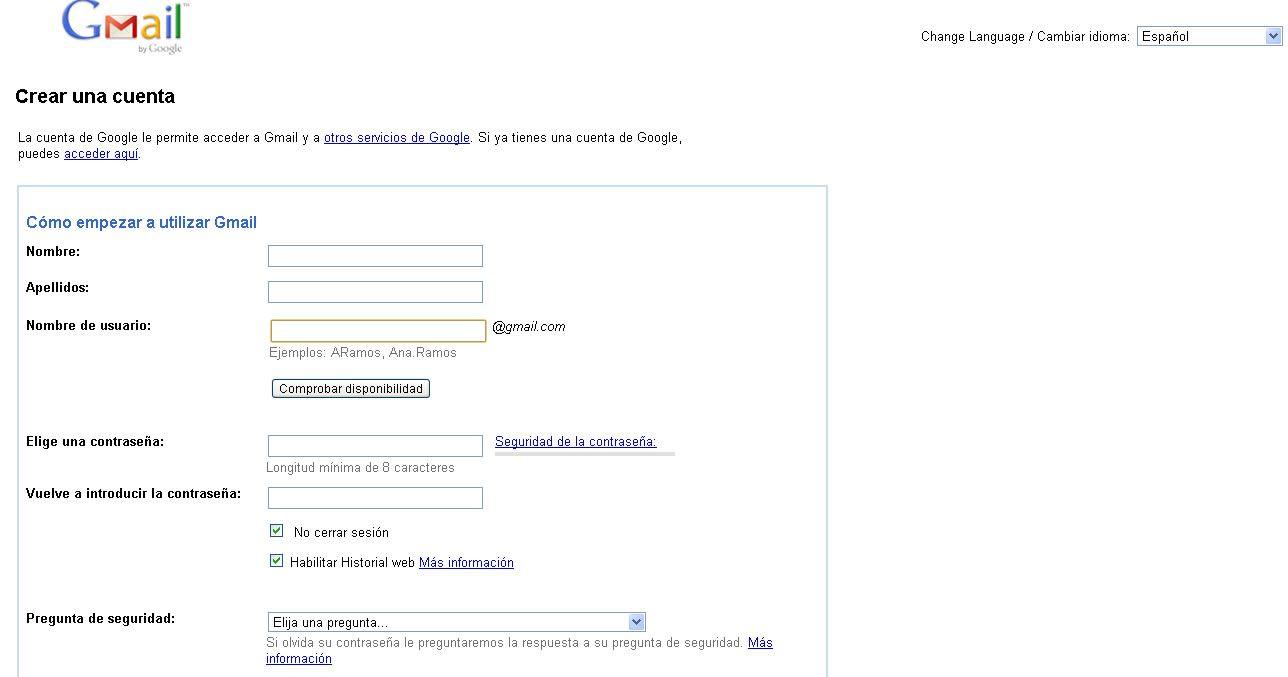 Crear una cuenta google
