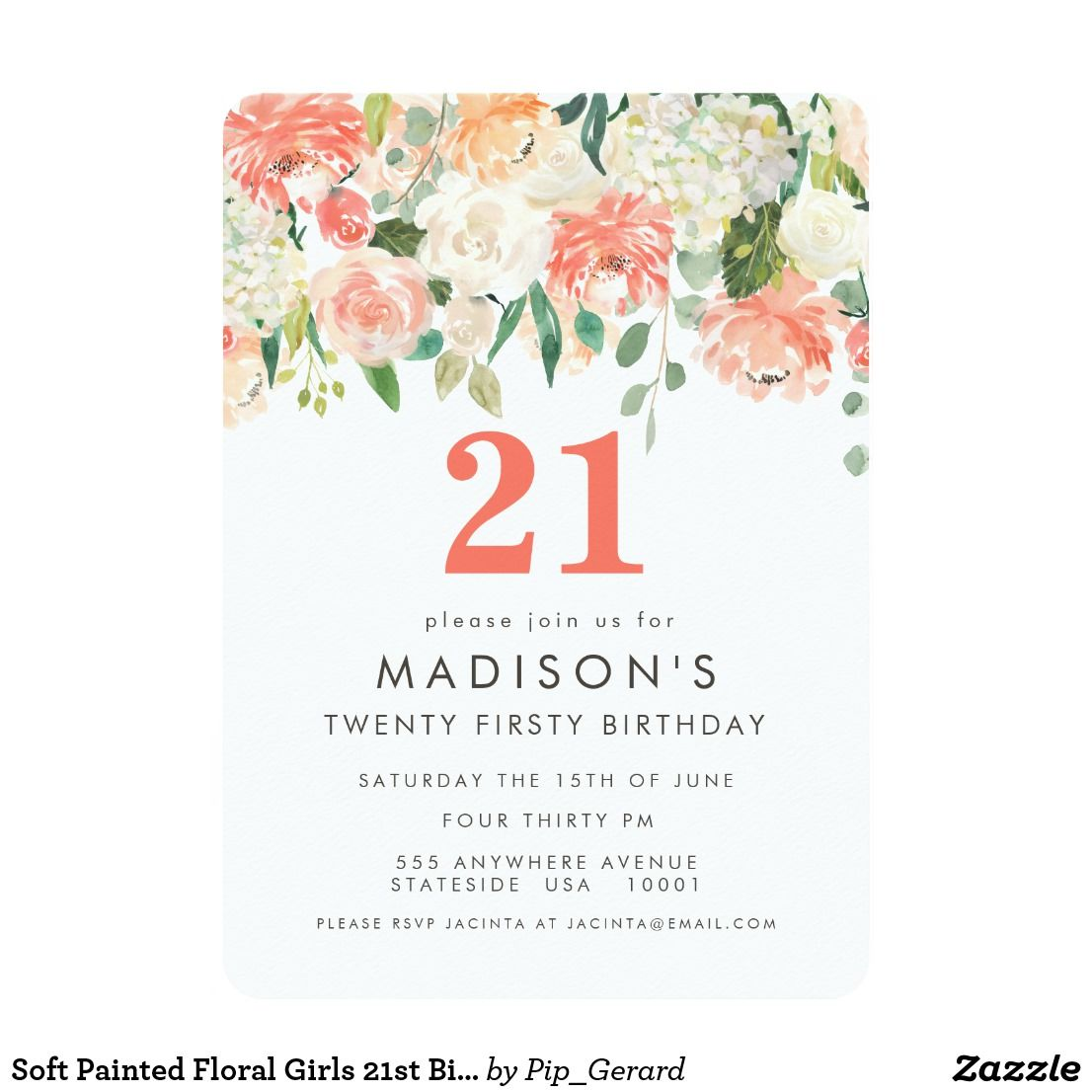 Soft Painted Floral Girls 21st Birthday Invite Zazzle