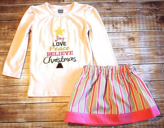 Girls Pink Christmas Skirt and Top Outfit by LittleBunnySueSue