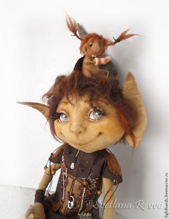 Купить Домашняя эльфочка Маэлис и вредина Жади. Коллекционная кукла - коричневый, кофейная пара