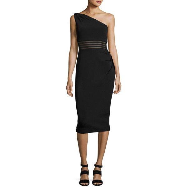 Nicholas One-Shoulder Bandage Dress ($595) ❤ liked on Polyvore featuring dresses, black, striped dress, mesh bandage dress, bandage dress, ruched one shoulder cocktail dress and stripe dresses