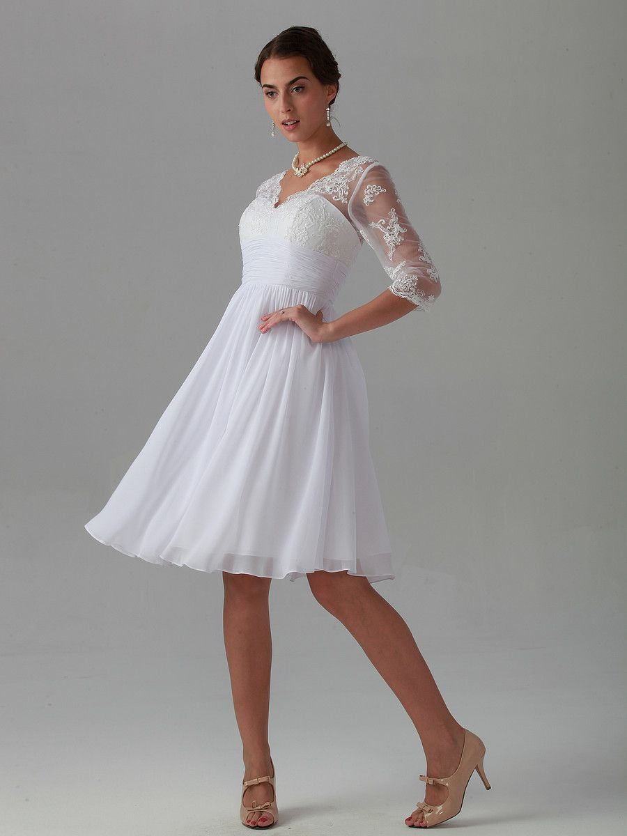 V Neck Half Sleeve Chiffon Short Tea Length Wedding Dresses