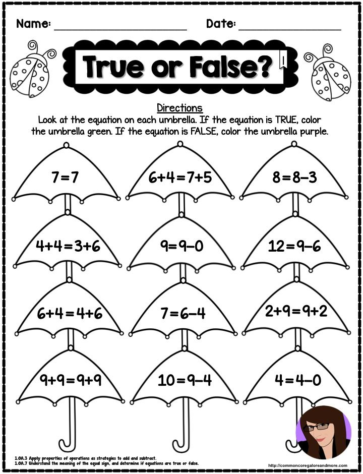 FREE SAMPLE PAGE from my 1st Grade Spring NO PREP Math Pack – Spring Math Worksheets