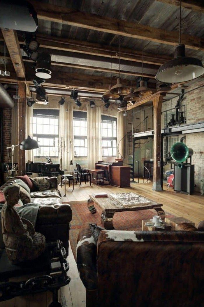 beautiful joli salon duesprit loft avec meuble style industriel pas cher pour le salon style. Black Bedroom Furniture Sets. Home Design Ideas