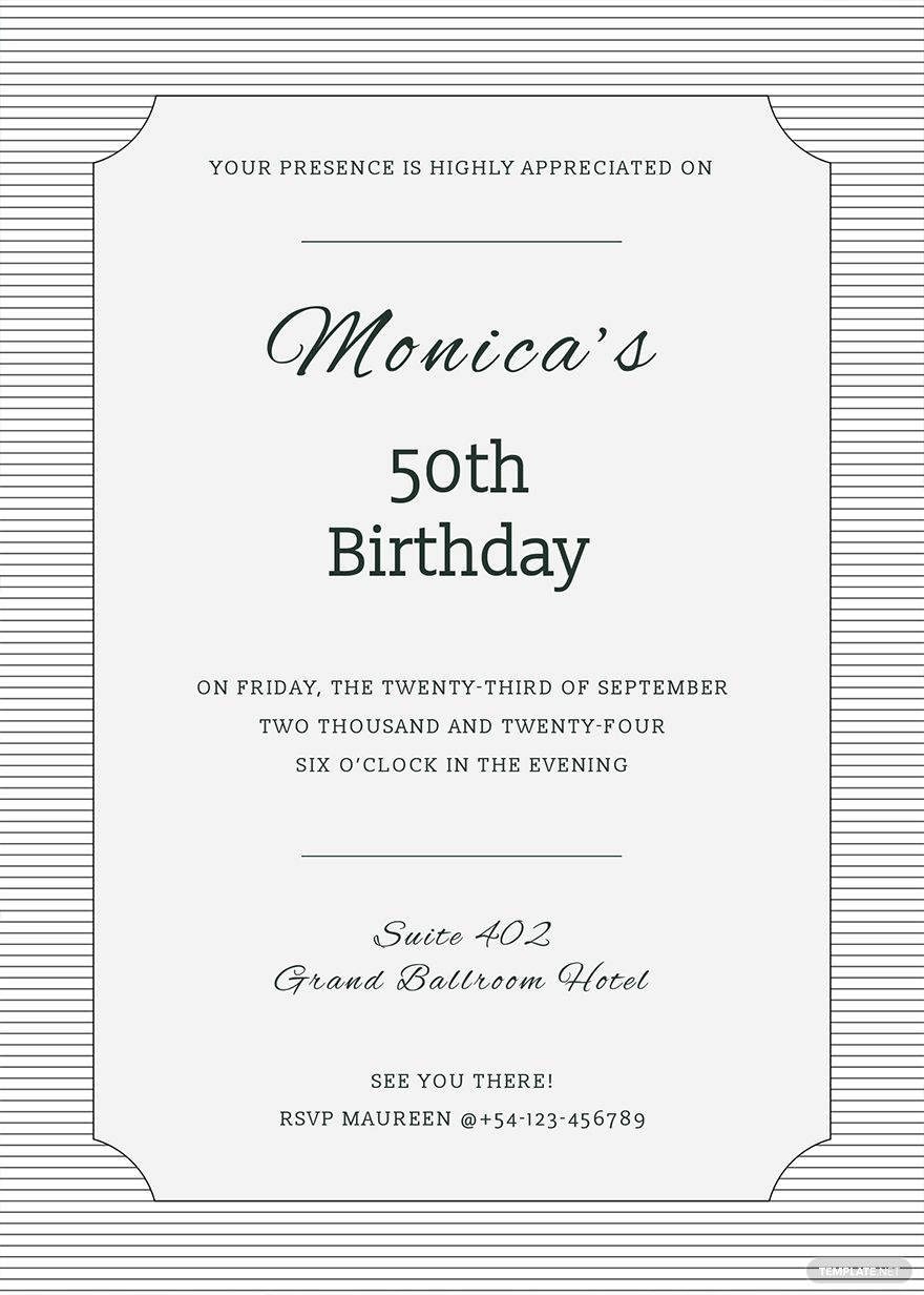 FREE Formal Birthday Invitation Template - Word (DOC)  PSD
