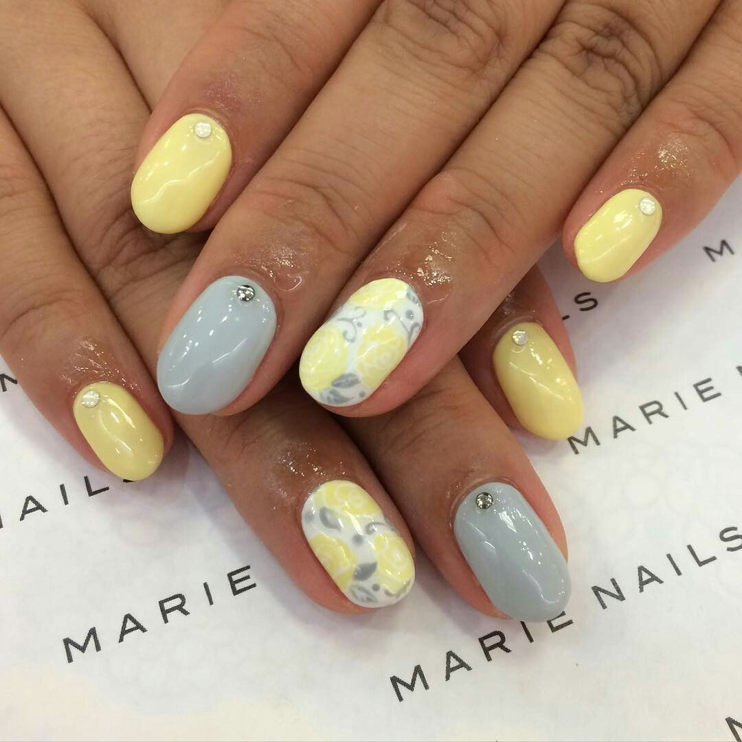 Grey and yellow nails | Grey | Pinterest | Yellow nails ...