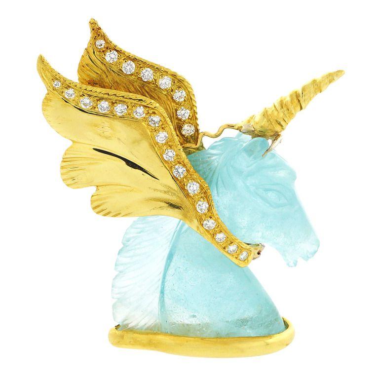 Peter Suchy Design Natural Carved Aquamarine Unicorn Pin