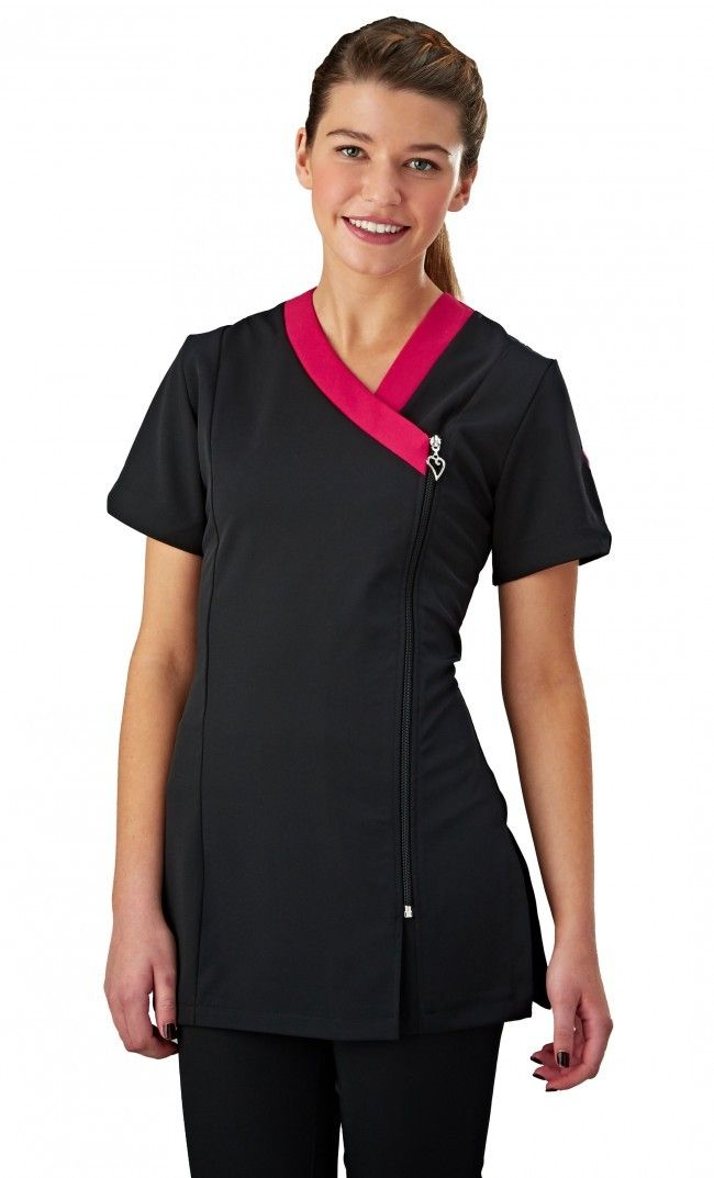 b7144359930 Salonwear Ribbon Beauty Tunic with Contrast Neck Trim and Heart Shaped Zip