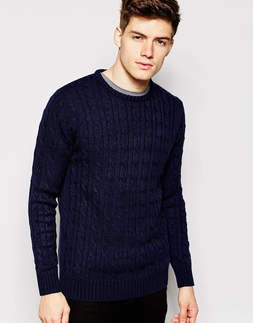 """Sweater by Brave Soul Mid-weight cable knit Soft-touch finish Crew neck Ribbed trims Regular fit - true to size Machine wash 100% Cotton Our model wears a size Medium and is 185.5cm/6'1"""" tall"""