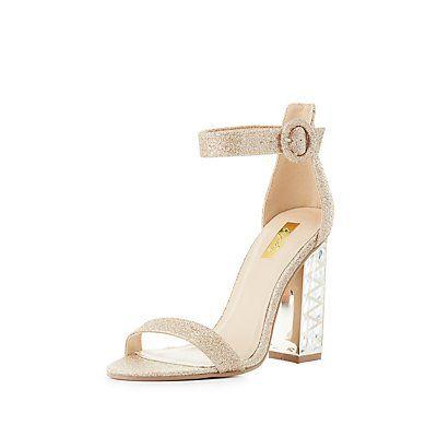 Qupid Glitter Lucite Heel Sandals