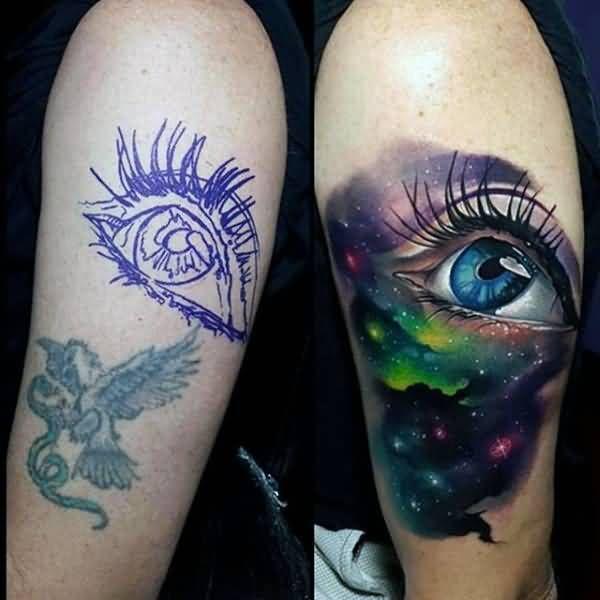 Realistic Eye Universe Tattoo On Half Sleeve   Tattoo ...