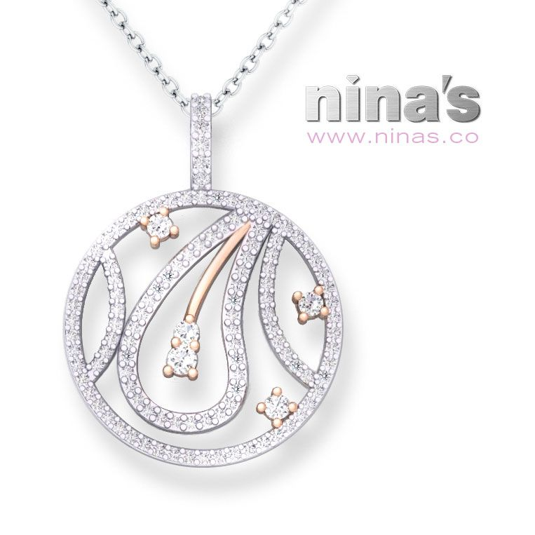 White diamonds trace the organic curves of this circular pear-drop pendant crafted in white and rose gold. By Nina's #WesternAustralia #diamonds