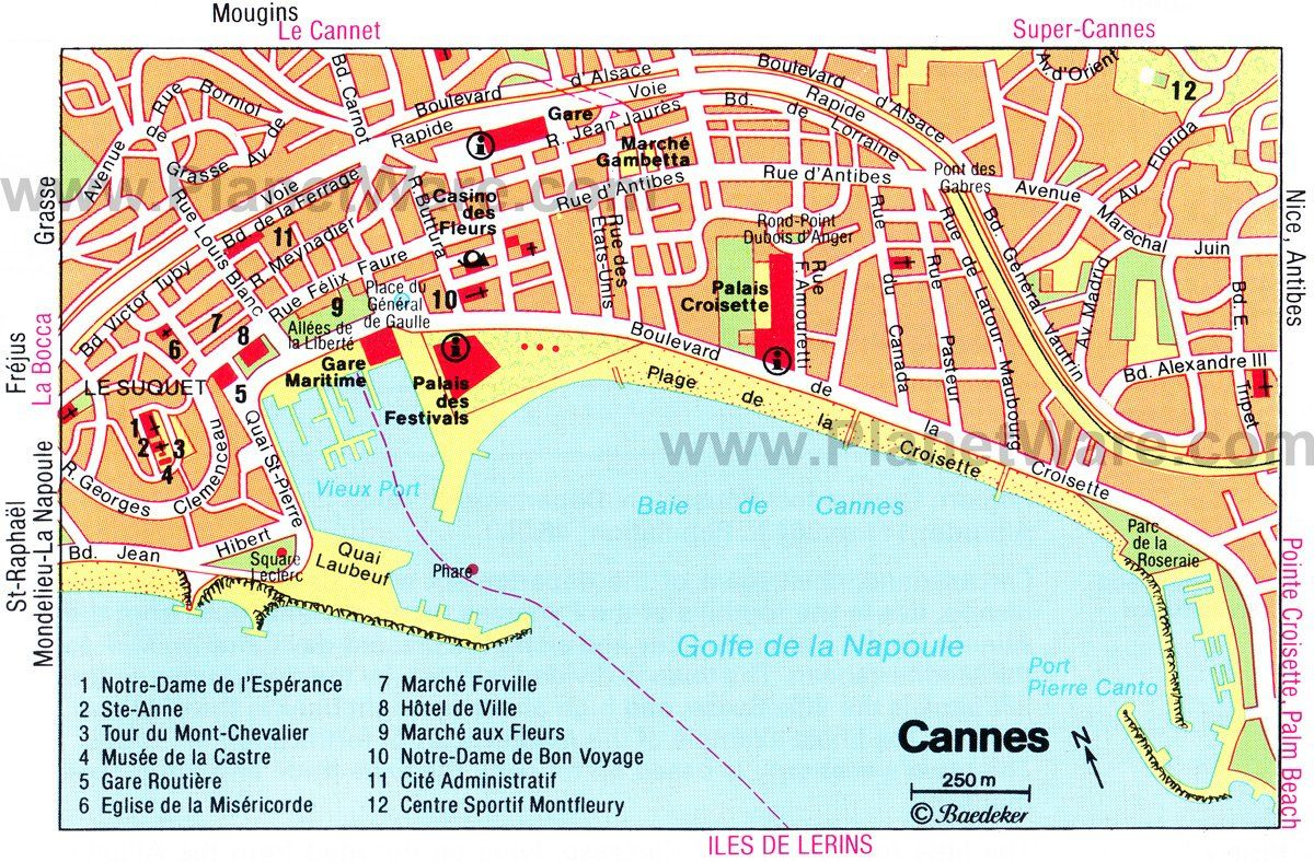 Cannes Map - Tourist Attractions in 2019 | France ...