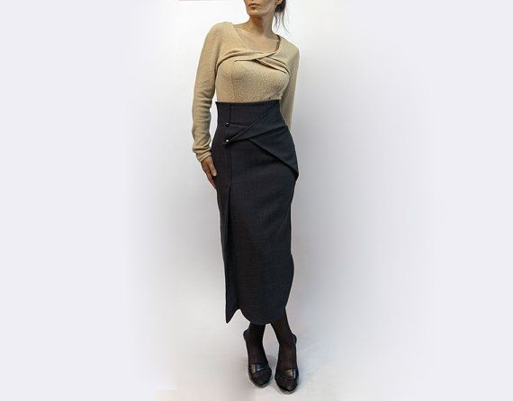 skirt,black skirt,long skirt,classic skirt,medium skirt,asymmetric skirt,original skirt,autumn skirt,casual,original design,fall trend   S17 on Etsy, $72.00