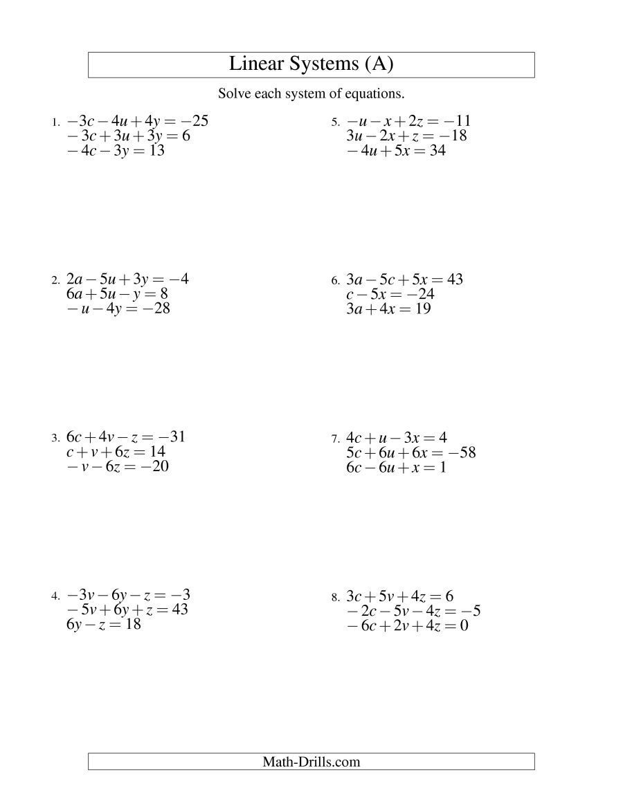 The Systems Of Linear Equations Three Variables Including Negative Values A Math Worksheet F Wo In 2021 Word Problem Worksheets Systems Of Equations Algebra Worksheets