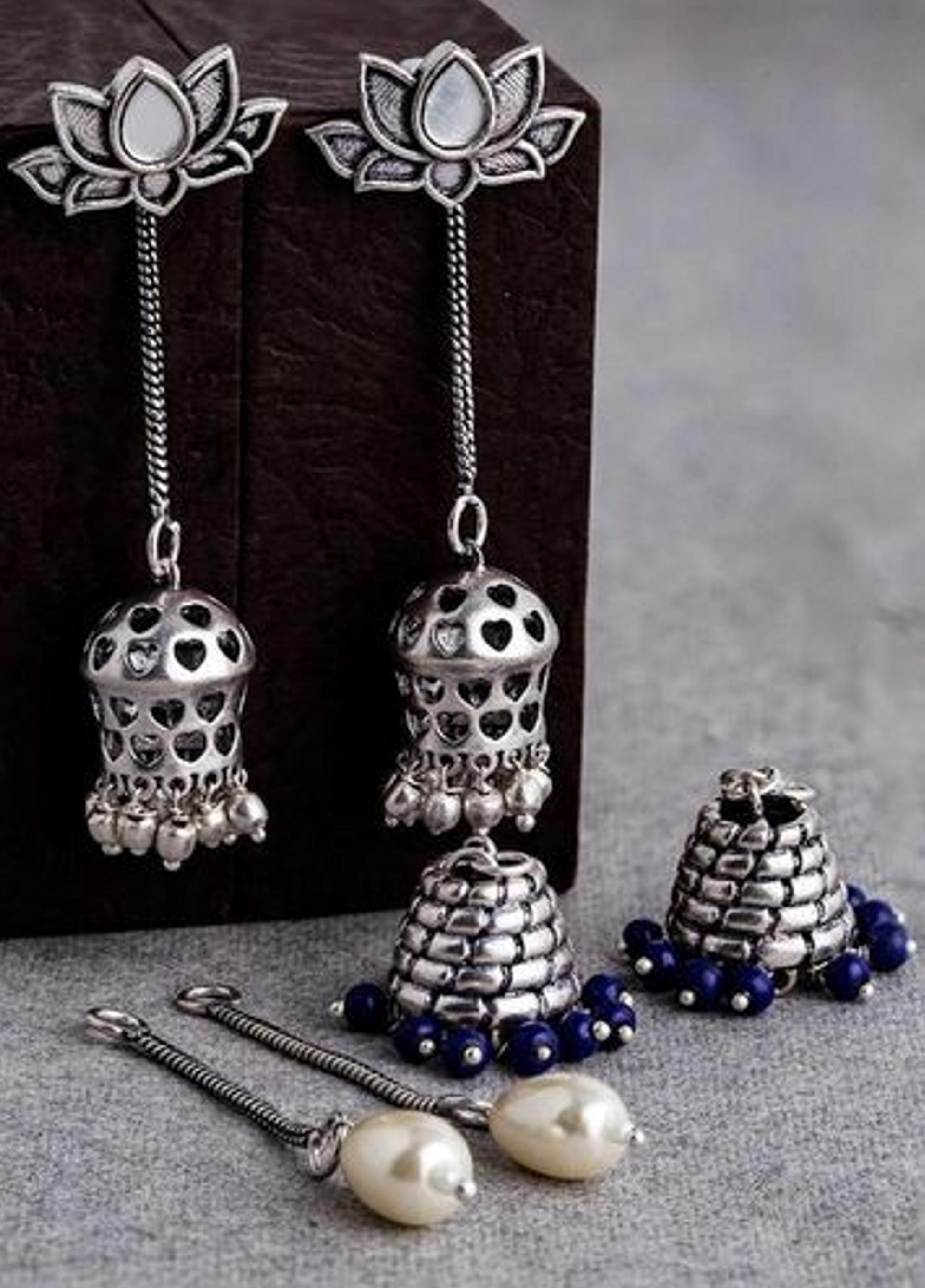 4 in One Oxidised Interchangeable Danglers | VOYLLA Fashions | Fashion jewelry, Fashion earrings, Traditional earrings