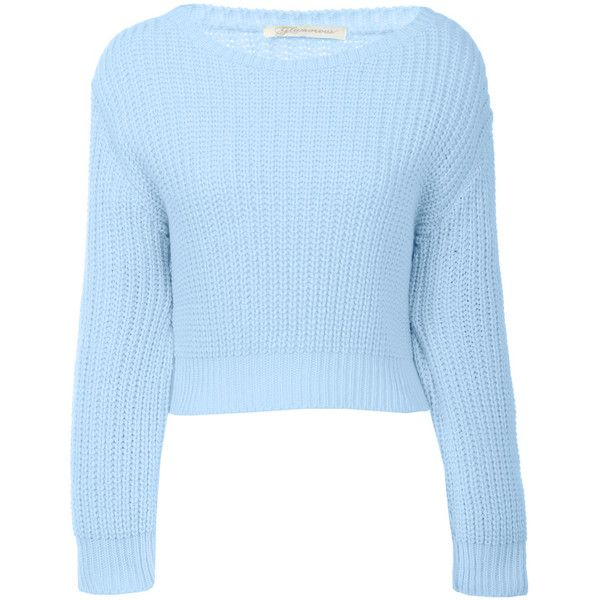 Light Blue Crop Jumper 16 Liked On Polyvore Featuring Tops